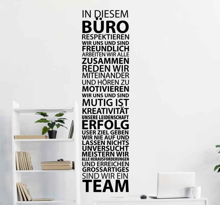 TenStickers. Büro Wandtattoo Teamarbeit. Der Büro Aufkleber dekoriert nicht nur Ihr Büro in einem eleganten Stil, sondern listet zudem alle grundlegend wichtigen Merkmale guter Teamarbeit.