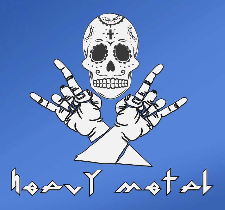 TenStickers. Aufkleber Heavy Metal Handzeichen und Totenkopf.