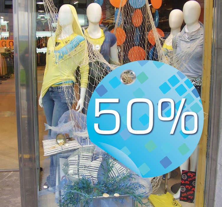 TenStickers. Blauer Kreis Angebot Aufkleber. Verzieren Sie das Schaufenster von Ihresm Laden mit diesem dekorativen blauen Kreis als Aufkleber und weisen Sie auf Rabatte und andere Aktionen hin.