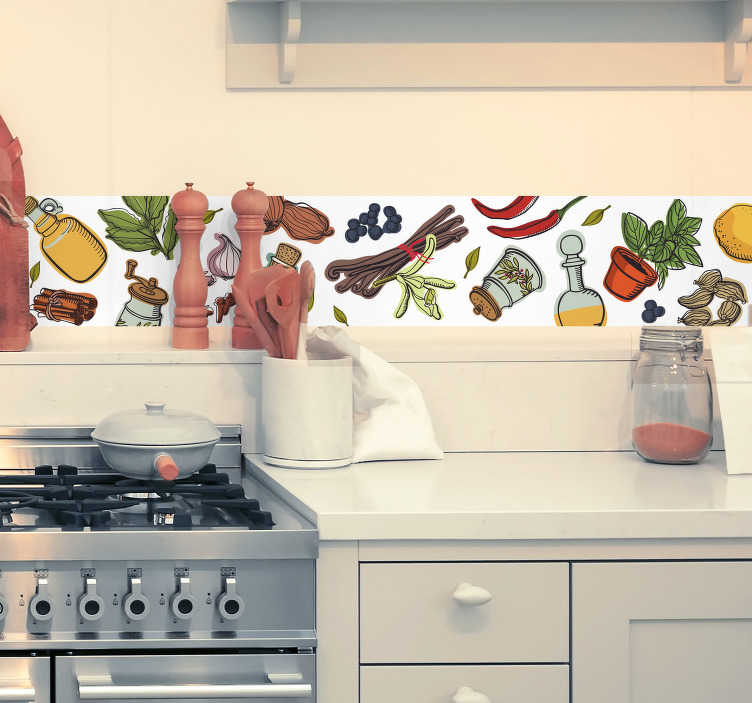 TenVinilo. Cenefa para cocina vintage. Cenefa de cocina con el dibujo de distintos aderezos como pimienta, aceite, limón, guindillas entre otros Un vinilo decorativo original para darle un toque único a tus fogones.