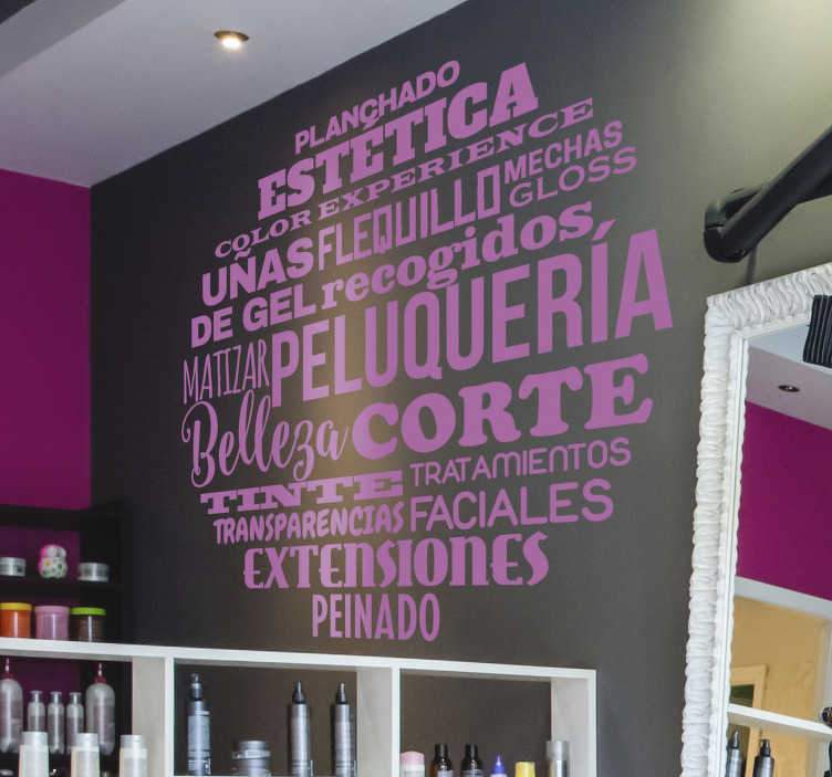 TenStickers. hairdressing beauty wall decal. Business theme wall sticker designed with text content for hairdressing beauty salon. We have it in different colours and size options.