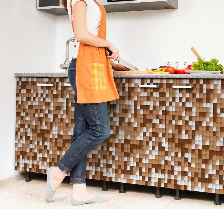 TenVinilo. Vinilo salpicadero cocina geométrico. Vinilos para muebles de cocina con una moderna textura de cuadrados en tonos blancos y marrones. Adhesivos para decoración que podrás aplicar sobre cualquier superficie.