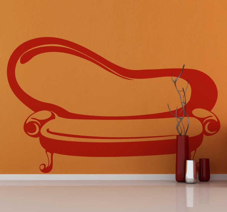 TenStickers. Naklejka dekoracyjna sofa retro. Naklejka na ścianę przedstawiająca klasyczną sofę w stylu retro. Obrazek jest dostępny w wielu kolorach i wymiarach.