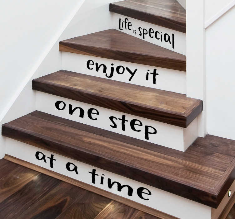 TenStickers. Life is Special Stair Stickers. Decorate your stairs with a motivational quote thanks to this set of stair stickers! Choose your size.