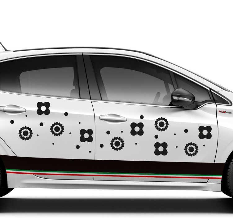 TenStickers. Autocolante para veículos flores para carro. Adesivos decorativos pequenos, ideais para deocrar o seu carro. Medidas personalizaveis.