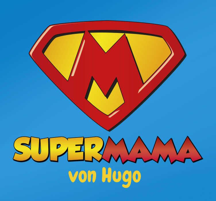TenStickers. Autoaufkleber Supermama personalisierbar. Der Aufkleber fürs Auto eignet sich perfekt als Geschenk für die Mutter. Die Bezeichnung SUPERMAMA lässt jedes Mutterherz aufgehen.