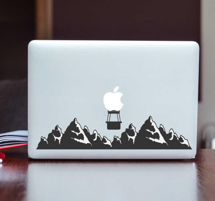 TenStickers. Mountains Macbook Sticker. Decorate your Macbook with this fantastic mountain themed decal! Easy to apply.