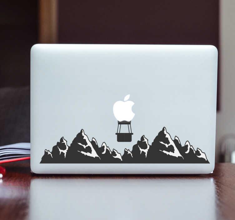 TenStickers. Bergen sticker laptop. Plaats deze decoratie sticker van bergen op uw laptop en creëer een compleet nieuwe uitsraling. Pas de afmetingen geheel naar eigen wens aan.