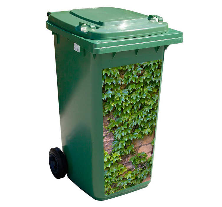 TenStickers. Dustbin iconic vinyl stikcer. Decorative flower recycling container sticker. We have it in any required size to decorate a trash container. Easy to apply and adhesive.
