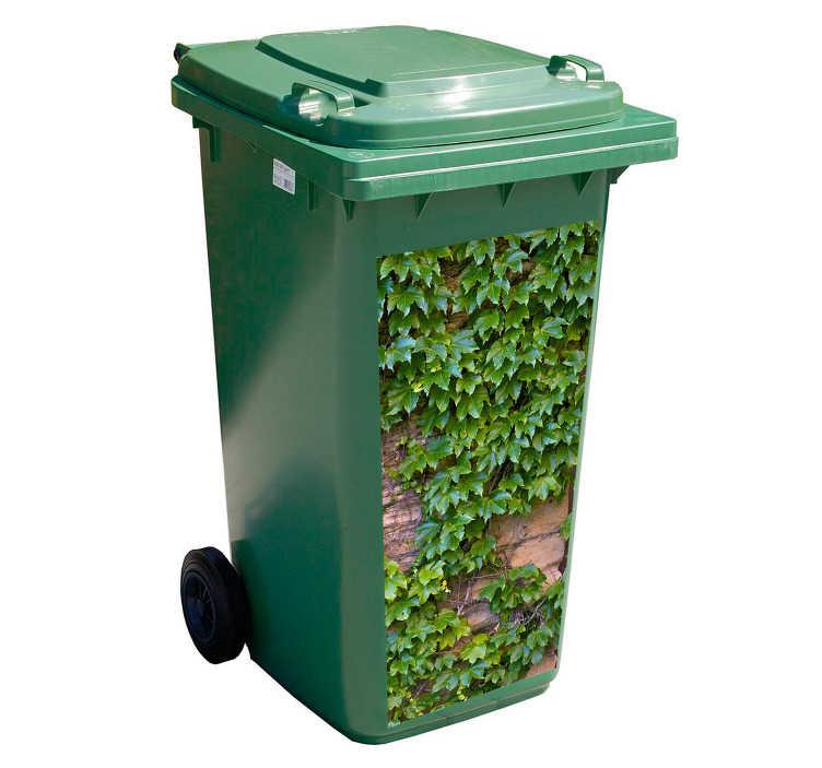 TenStickers. Mülltonnennaufkleber Efeu. Dieser Mülltonnennaufkleber, welcher aufgrund der Farbwahl optimal zum verzieren der Restmülltonne geeignet ist, ist ganz einfach anzubringen.