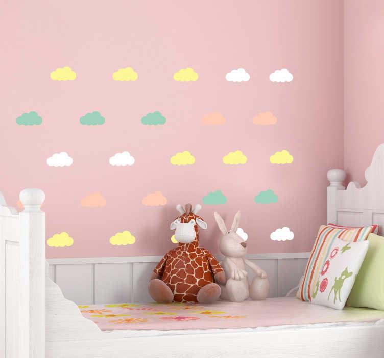 TenStickers. Muursticker kinderkamer Kleurrijke wolken. Deze wolken sticker zal zorgen voor een vrolijke uitstraling van de kinderkamer. Plaats de kleurrijke wolken op elke gewenste vlak oppervlak.