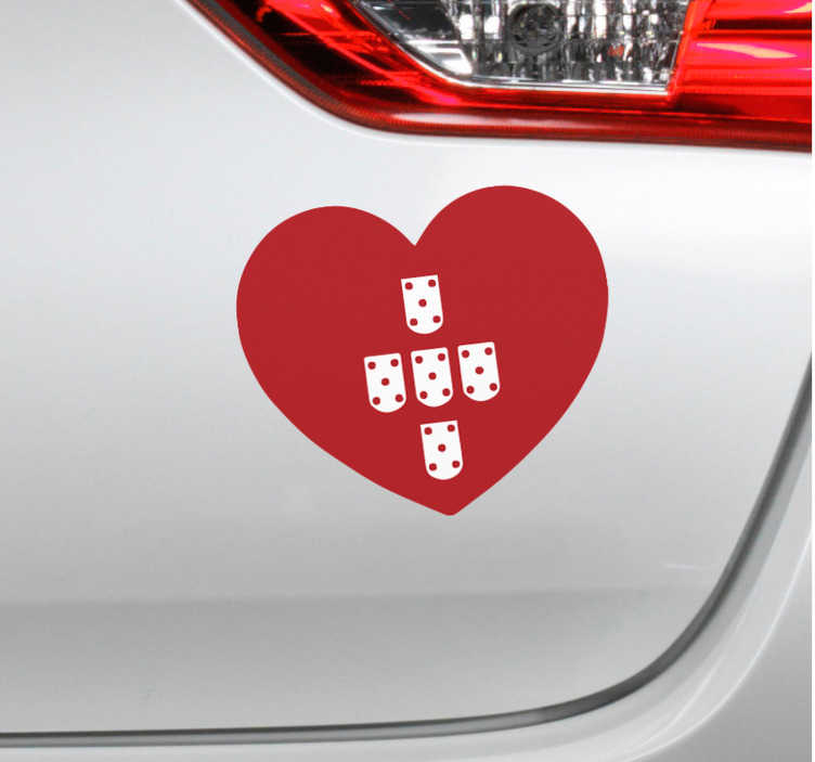 TenStickers. decorative heart Portugal Car Decal. Decorative heart Portugal Car Sticker to decorate any flt surface of choice. We have it in any required size and it is easy to apply.