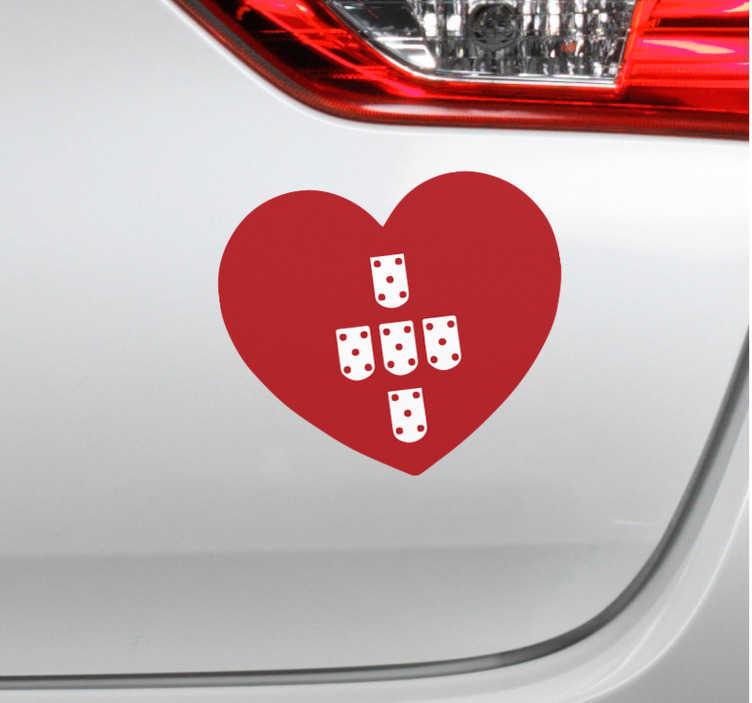 TenStickers. 장식 심장 포르투갈 자동차 데칼. 선택의 어떤 flt 표면을 꾸미는 장식적인 심장 포르투갈 차 스티커. 우리는 필요한 크기로 제공하고 적용하기 쉽습니다.