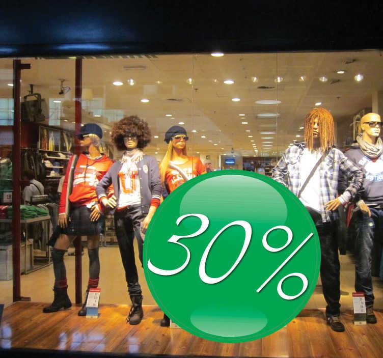 TenStickers. 녹색 공 판매 창 스티커. 고객에게 판매를 광고 할 수있는 맞춤형 상점 창 데칼! 녹색과 흰색 판매 데칼로 판매를 늘리십시오.