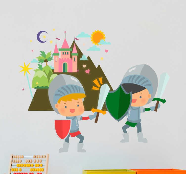 TenStickers. Autocolantes de contos infantis cavaleiros. Da coleção de autocolantes de parede infantil. Um autocolante decorativo em vinil de encantar para decorar os quartos de dormir dos mais pequenos.