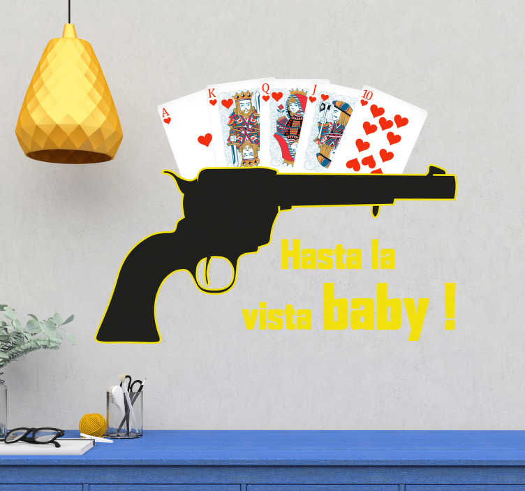 TenStickers. Poker pistol  text wall decal. Decorative home vinyl decal with the design of a poker with pistol. It is available in any size you want. Easy to apply and adhesive.