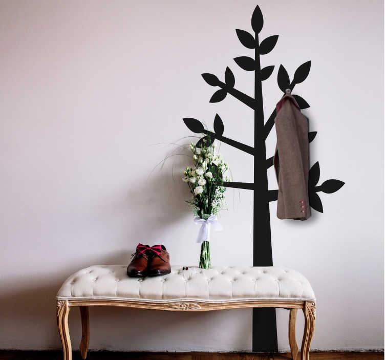 TenStickers. Adesivo murale tronco effetto appendiabiti. Stencil ingressso tronco appendiabiti per arredare in modo utile una parete vuota. Di semplice applicazione, originale ed economico.