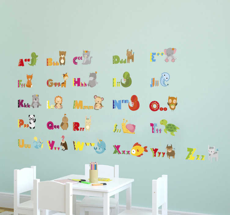 TenStickers. Animal Alphabet Wall Sticker. Animal Alphabet Stickers - a great educational wall sticker that allows your kids to learn the alphabet with their favourite animals!
