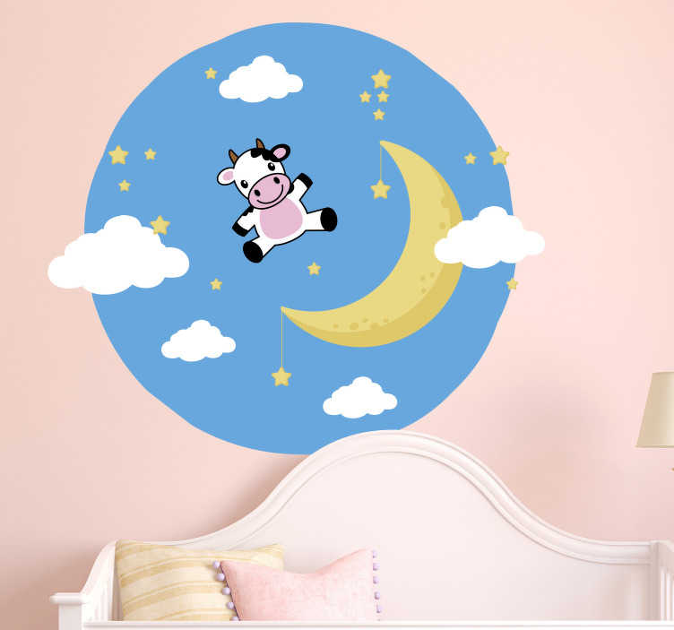 TenStickers. Cow on the Moon Wall Sticker. Furnish your home with humour thanks to this superb animal themed wall decal! Zero residue upon removal.
