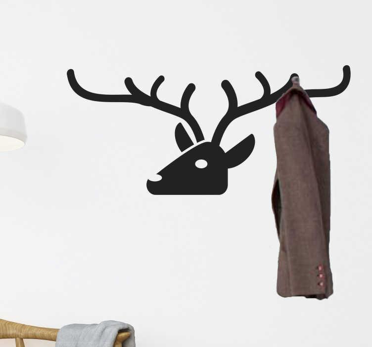 TenStickers. Oděv jehel hlavy hlavy nálepka domů. Nálepka s povlakem s originálním designem jelenu. Ozdobte své sály touto moderní nálepkou!