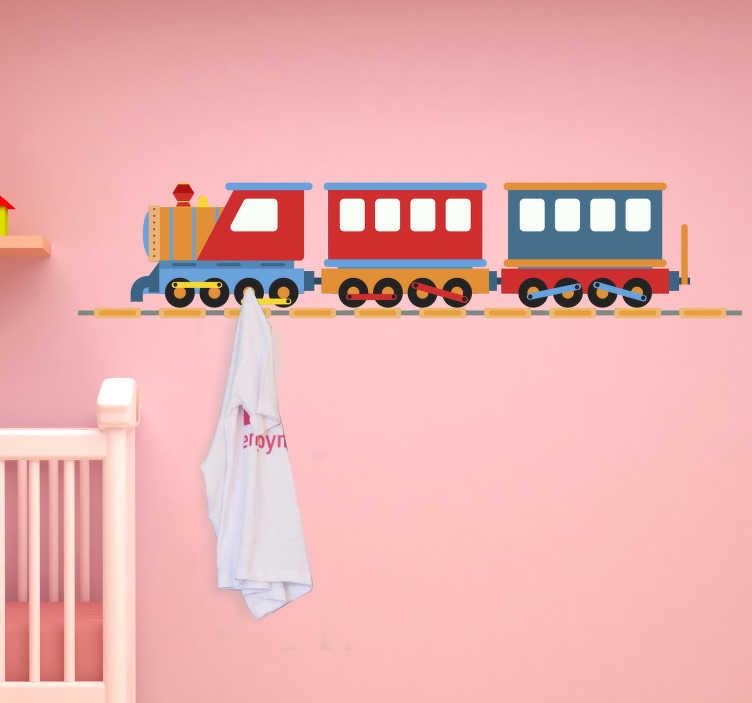 TenStickers. Muursticker Trein kapstok. Een muursticker voor de decoratie van de kinderkamer en daarnaast ook als kapstok te gebruiken. Afmetingen aanpasbaar naar eigen wens.
