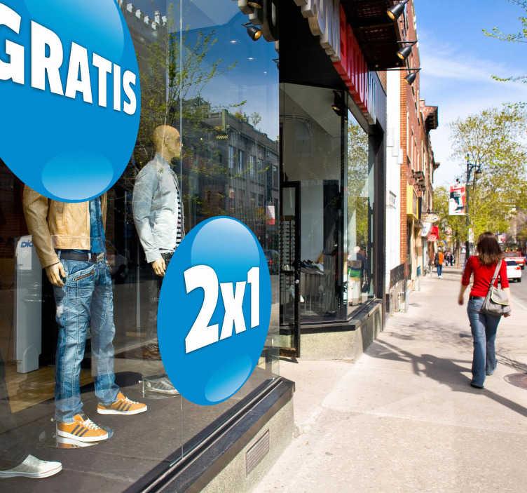 """TenStickers. Naklejka koło do sklepu z Twoim napisem. Niebieska okrągła naklejka dekoracyjna do sklepu, na której możesz umieścić swój tekst. Wystarczy, że podczas dokonywania zakupu, wpiszesz wybrany tekst w pole """"Uwagi""""."""