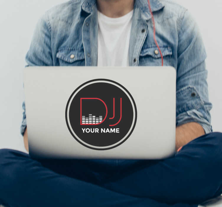 TenStickers. Personalised Name DJ sticker. A perfect sticker for those who love to DJ! Stickers from £1.99.