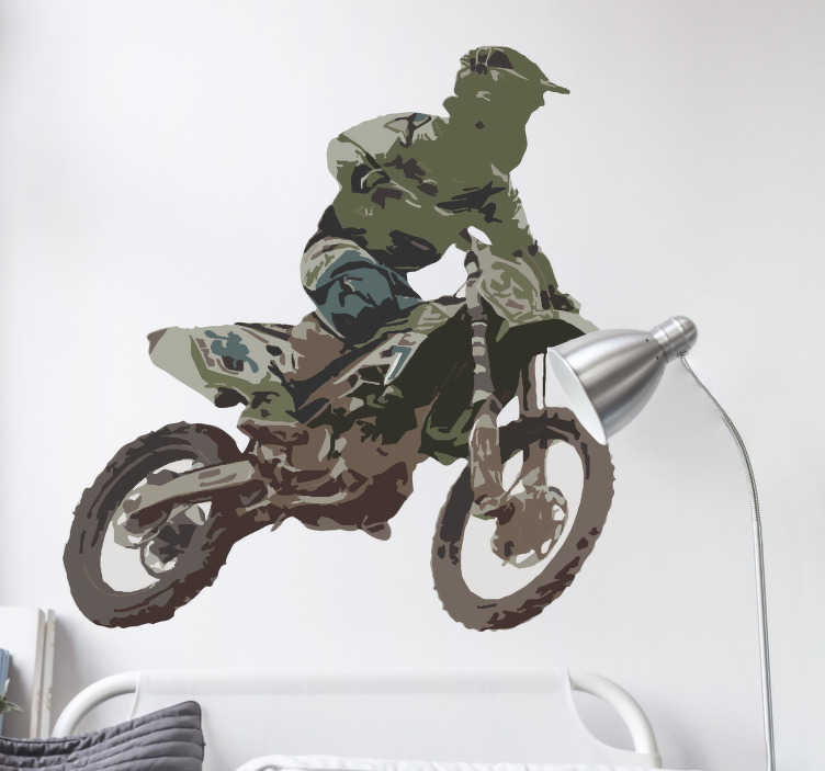 TenStickers. Crossmotor sticker Motorcrosser. Een stoere motorcrosser sticker om de saaie tienerkamer te transformeren in een stoere kinderkamer. Pas de afmetingen geheel naar eigen wens aan.