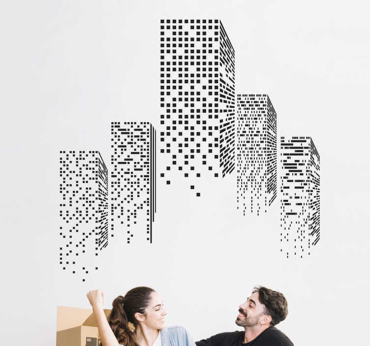 TenStickers. Sticker met visuele effecten Wolkenkrabber verlichting. Creëer sfeer in uw woonkamer door het plaatsen van deze wolkenkrabber verlichting sticker. Pas de afmetingen geheel naar eigen wens aan.
