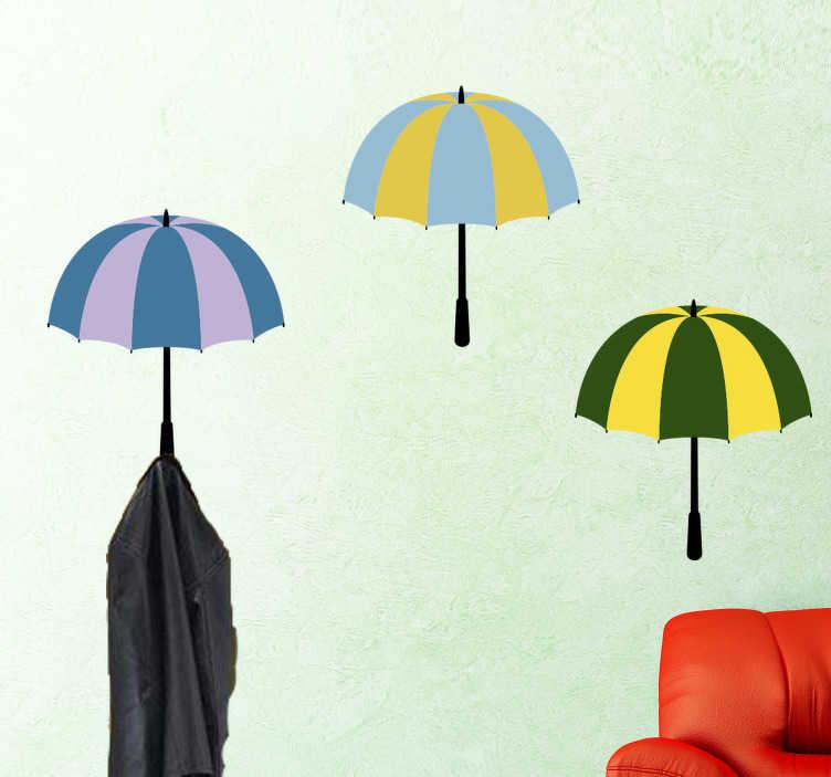 Tenstickers. Tre paraplyer klädhängare vägg klistermärke. En klädhängare vägg klistermärke med paraply design! Lägg till några färger i ditt hus med denna unika design!