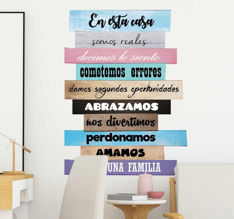 TenVinilo. Vinilo hogar normas de la casa decoración. Vinilo frase con el detalle de las normas del hogar ideal para la decoración original y distinta de salones y comedores de tu casa.