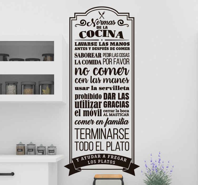 TenVinilo. Mural de pared normas de la cocina. Pegatinas para cocina con el detalle de las normas de la cocina en un hogar, ideal para la decoración de las paredes del hogar.