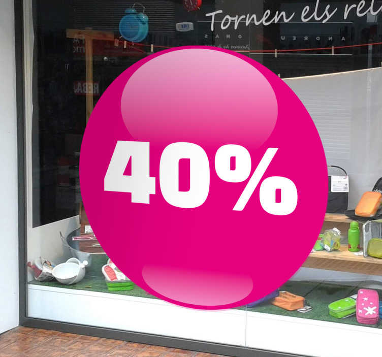 TenStickers. Circular Pink Promotion Window Sticker. Customisable Business Stickers - Circular window decal in bright hot pink to decorate your business and stand out. Ideal for retail stores and businesses, put this personalised sticker in your store front to advertise offers and prices with ease!
