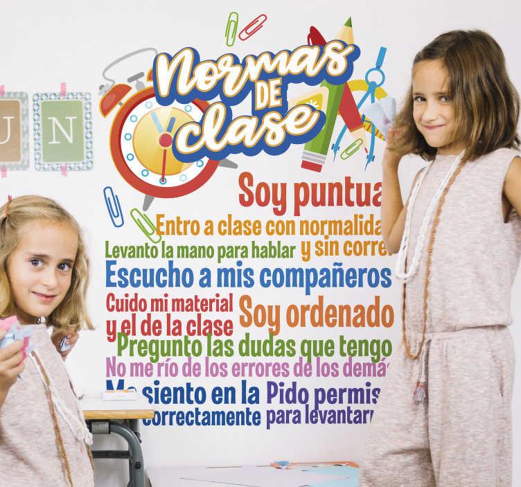 TenVinilo. Vinilo autoadhesivo reglas de clase para niños. Tener las normas de la clase presentes es muy importante para el desarrollo de una clase. Vinilo educativo ideal para la decoración de escuelas.