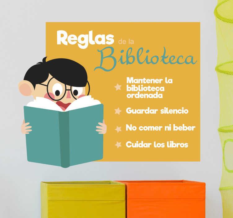 TenVinilo. Vinilo educativo reglas de la biblioteca escolar. Una biblioteca es un espacio de respeto y de obligado buen comportamiento. Vinilo decorativo escolar ideal para la decoración de bibliotecas.