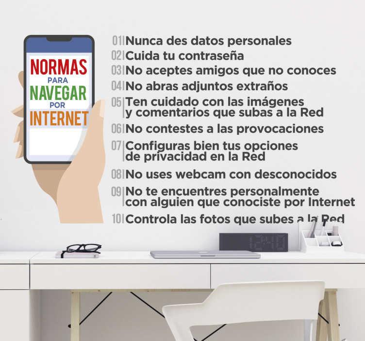 TenVinilo. Vinilo 10 normas para navegar por internet. Vinilo decorativo de tecnología con el resumen de las 10 normas para navegar de forma segura por la red ideal para el hogar o negocios