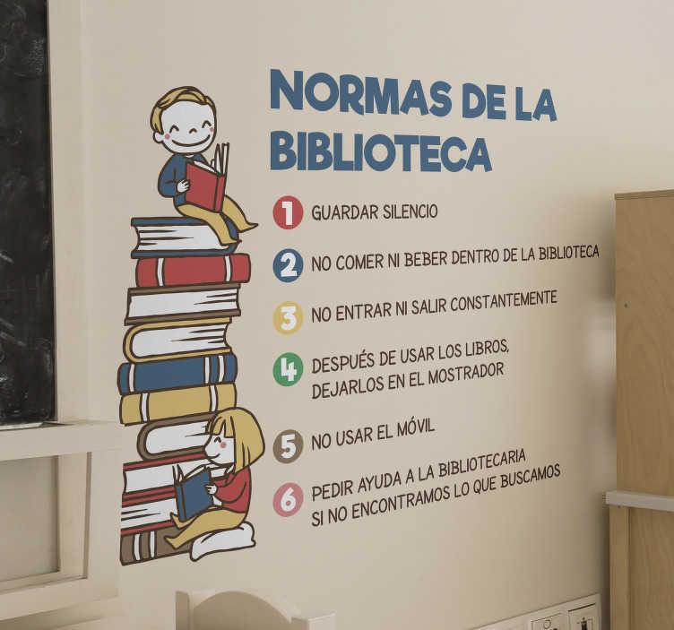 TenVinilo. Vinilo normas de la biblioteca del colegio. Detallada pegatina personalizada educativa con la enumeración de las normas y reglas a tener presentes en una biblioteca escolar o pública.