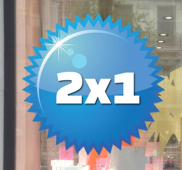 TenStickers. Sticker cerchio offerta azzurro. Decalcomania rotonda a punte in un vivace colore azzurro per abbellire il tuo negozio in modo originale.
