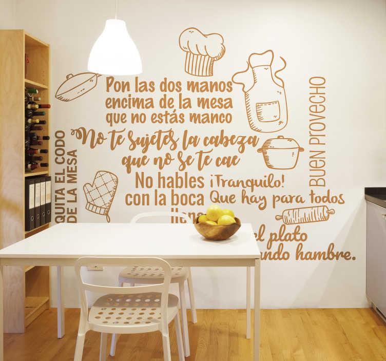 TenVinilo. Vinilo texto normas de la cocina conducta en la mesa. Estupendo vinilo decorativo con el detalle de las normas en la cocina ideal para la decoración original de cualquier espacio de la cocina