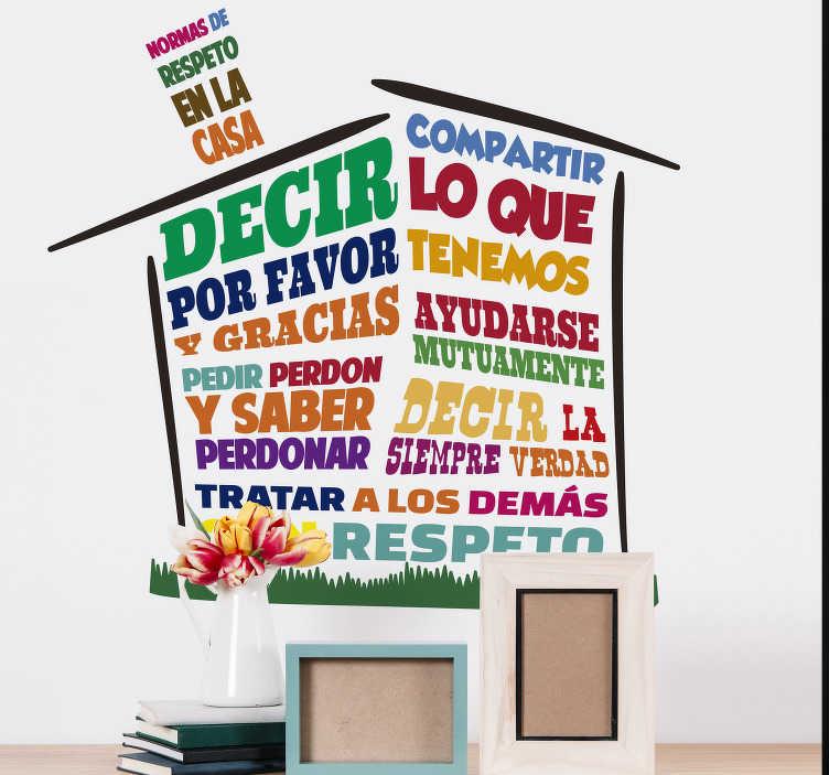 TenVinilo. Vinilo hogar normas de respeto en la casa. Vinilo pared frase para tu casa con una serie de frases en vivos colores para crear una pautas de comportamiento ideales en tu hogar. Envío Express