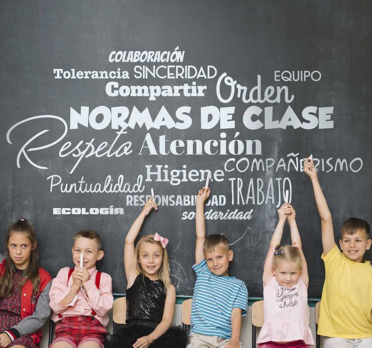 TenVinilo. Vinilo normas del centro escolar. Vinilo decorativo educativo con el detalle de todas las normas y reglas que hay que seguir en un centro escolar. Respeto, atención, orden, etc.