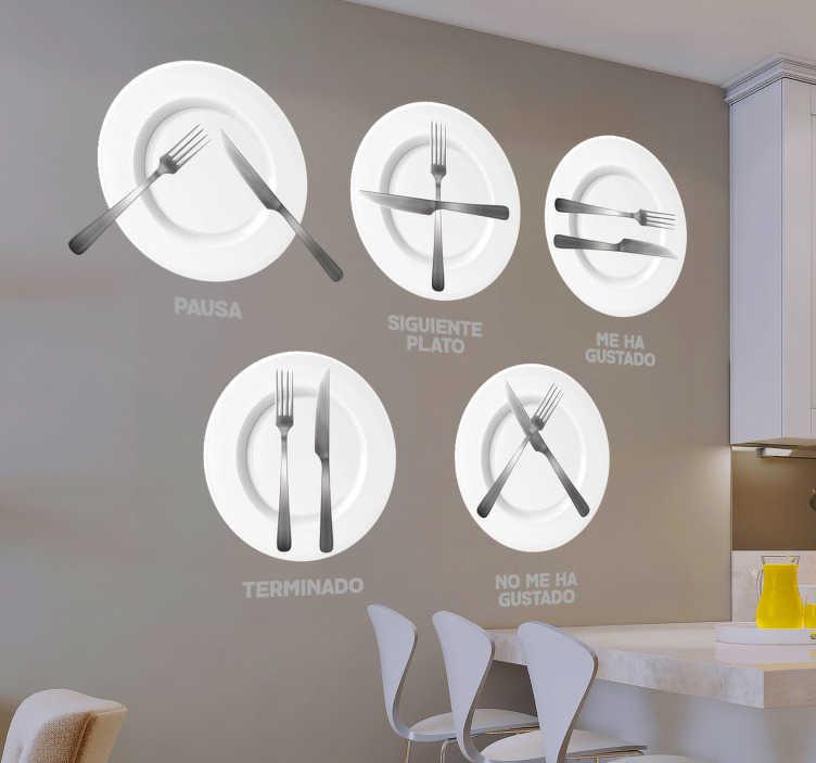 TenVinilo. Vinilo normas del hogar en la cocina. Vinilo decorativo para el hogar ideal para la decoración de paredes de una forma original con los códigos de cocina en una mesa.