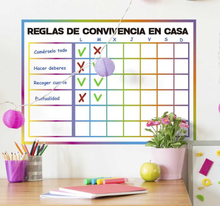 TenVinilo. Vinilo reglas de la casa de convivencia para niños. Este vinilo de pizarra decorativo permitirá controlar si los niños y niñas de casa se comportan perfectamente durante la semana o no.