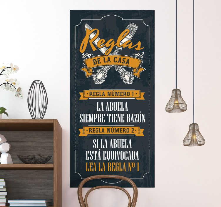 TenVinilo. Vinilo reglas casa de los abuelos. Original vinilo adhesivo en forma de cartel de las reglas de la casa de los abuelos en tonos azul y mostaza. Compra Online Segura y Garantizada.