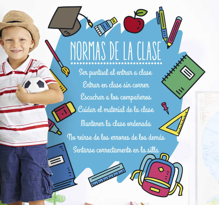 TenVinilo. Vinilo reglas de la clase para niños. Respetar las normas de la clase es esencial en una clase. Vinilo decorativo con las normas de la clase para cualquier decoración de un colegio.