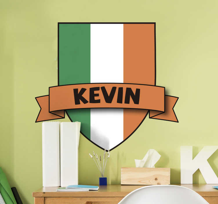TenStickers. Custom Ireland Flag Wall Sticker. Ireland flag wall sticker - Decorate your kids bedroom with their name the beloved flag of Ireland. The Irish flag wall decal can also be used for bars and businesses.
