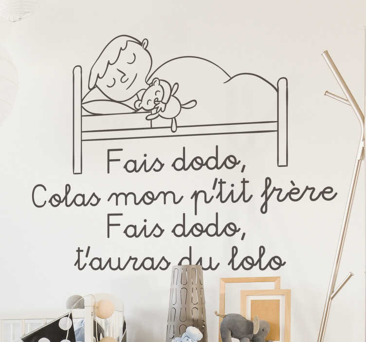 TenStickers. Make Dodo Colas nursery rhyme decal. Make Dodo Colas nursery rhyme wall sticker for children room space. It has the design of a sleeping mother and child. Easy to apply and adhesive.