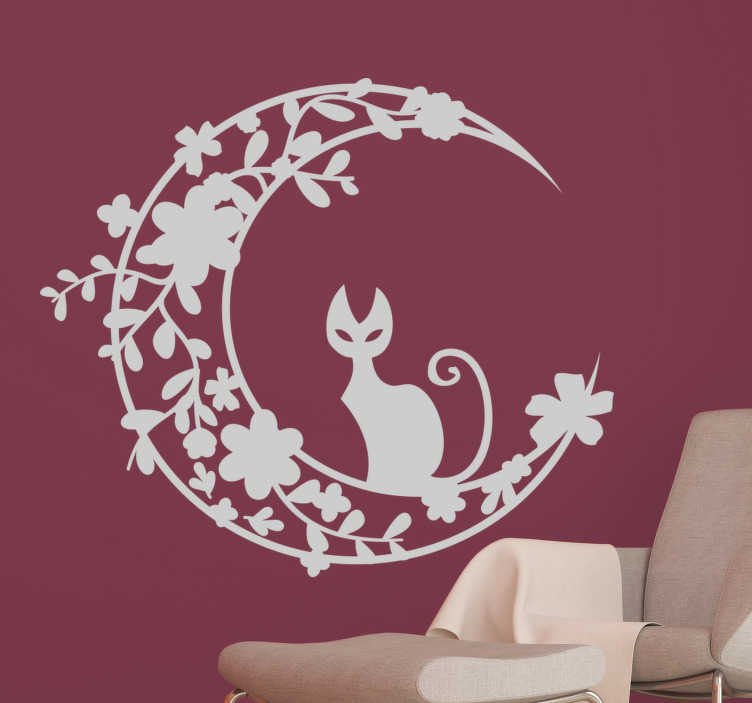 TenStickers. Muursticker kat op de Maan. Een uniek en origineel design van een kat die rust op een floraal getekende maan. Kleur en afmetingen aanpasbaar. Ook voor ramen en auto's.