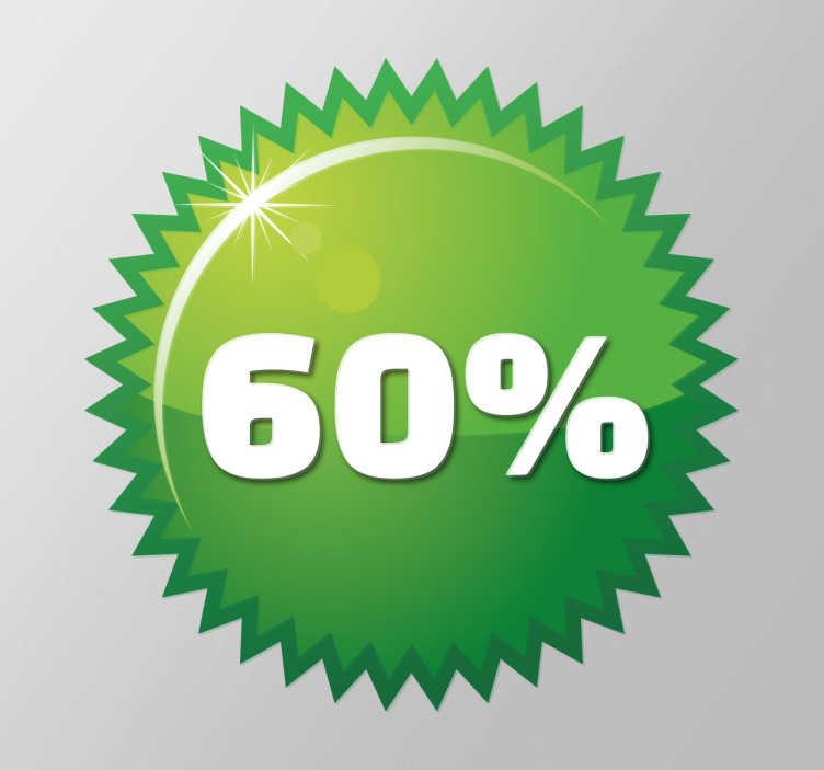 TENSTICKERS. 緑のスパイクサークルカスタマイズ可能なウィンドウステッカー. カスタマイズ可能 - プロモーション - ビジネスステッカー - あらゆる小売業に最適なデザイン。プロモーションに最適な緑色のラベルデザイン、テキストボックスに入れたい金額をパーソナライズして、より多くの顧客を引き付けるためにショップウィンドウに配置します。