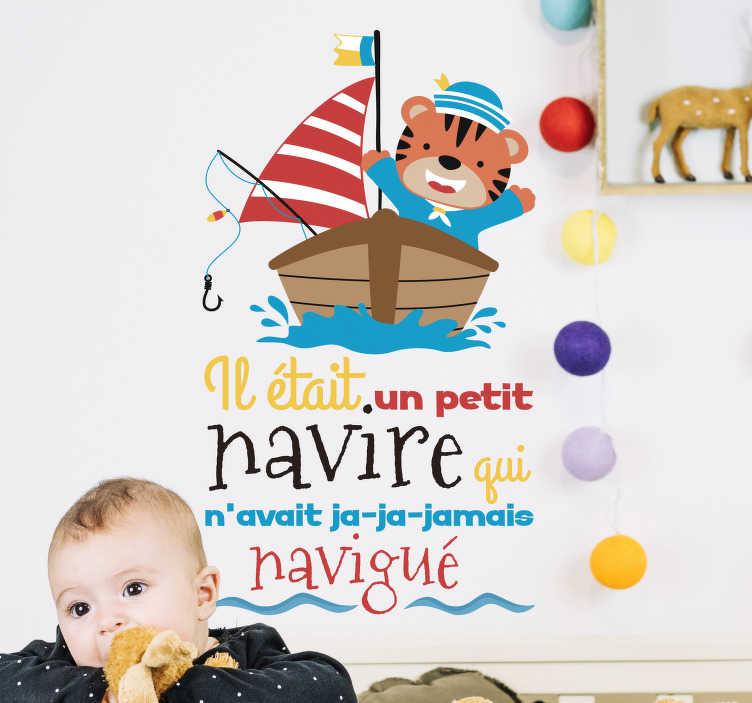 TenStickers. Sticker Enfant il était un petit navire. Ce sticker mural est ce qui manque à la chambre de votre enfant avec cette comptine qui vous rappellera des souvenirs de jeunesse. Livraison Rapide.